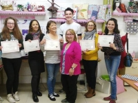 Students collecting their certificates